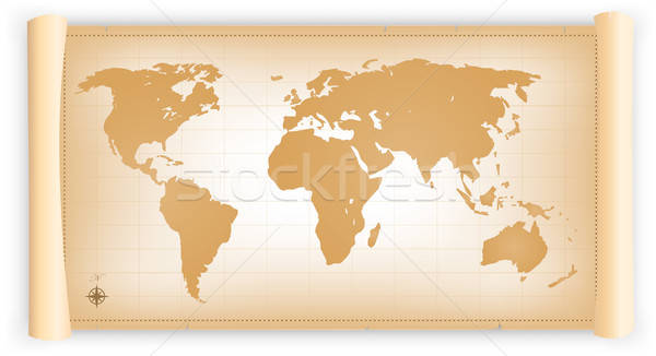 Vintage World Map On Parchment Scroll Stock photo © benchart