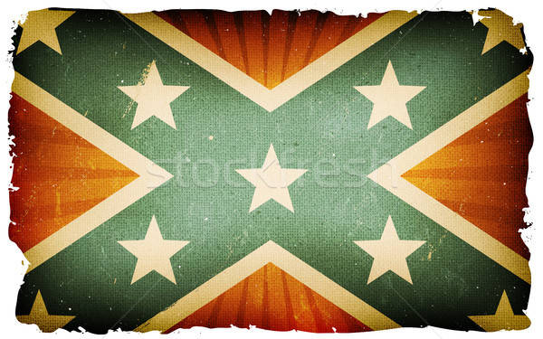Vintage US Confederate Flag Poster Background Stock photo © benchart