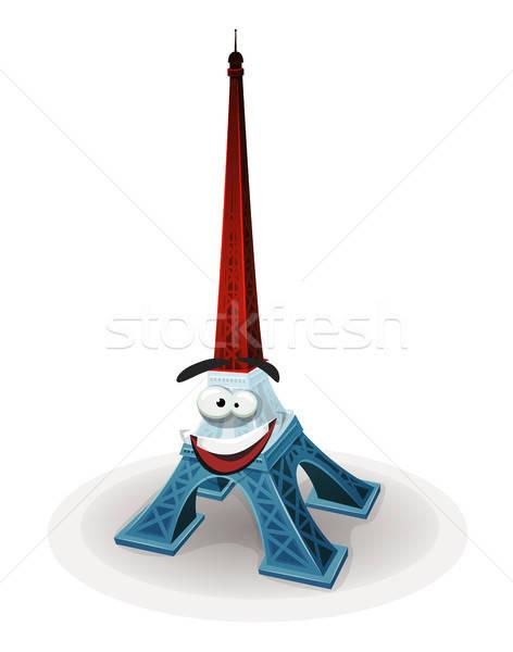 французский Эйфелева башня характер иллюстрация Cartoon известный Сток-фото © benchart