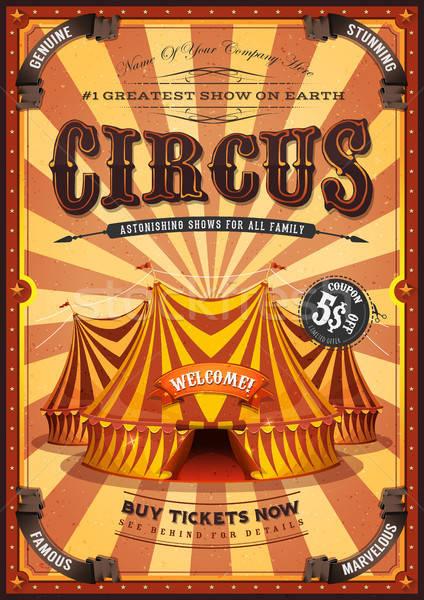 Vintage żółty cyrku plakat duży górę Zdjęcia stock © benchart
