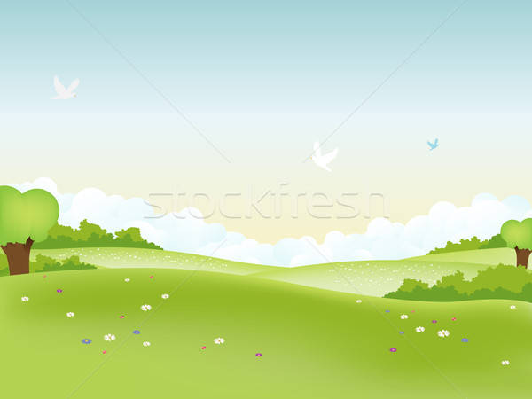 Wiosną krajobraz ilustracja Wielkanoc sezonowy lata Zdjęcia stock © benchart