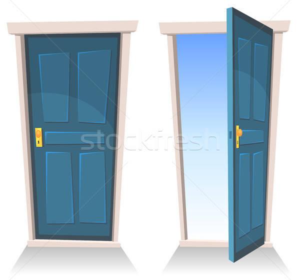 Ajtók zárva nyitva illusztráció szett rajz Stock fotó © benchart