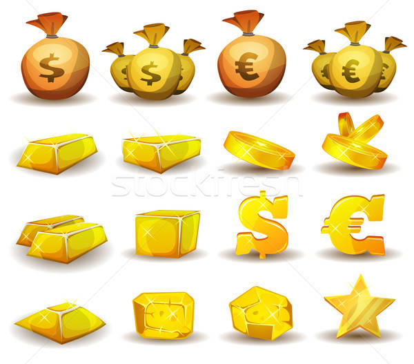 Gold Credit, Money, Coins Set For Game Interface Stock photo © benchart