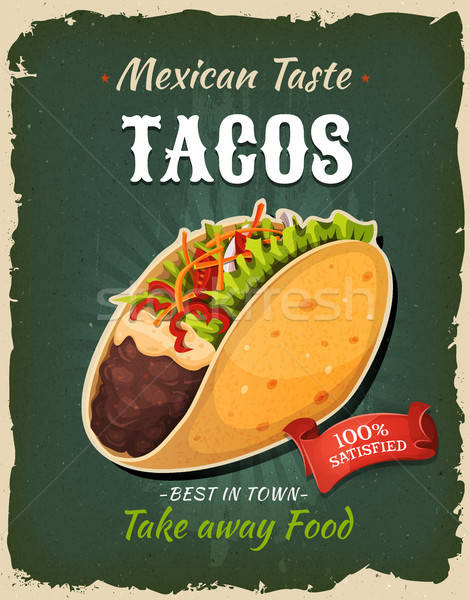 Retro fast food Mexicaanse taco poster illustratie Stockfoto © benchart