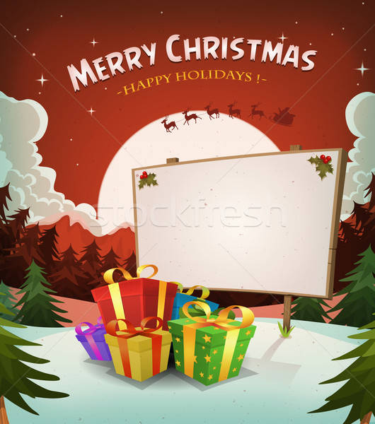 Stok fotoğraf: Noel · tatil · manzara · örnek · karikatür · kırmızı