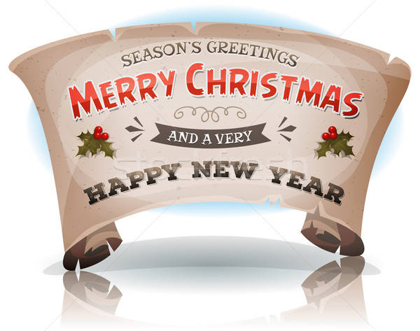 Happy New Year And Merry Christmas On Parchment Scroll Stock photo © benchart