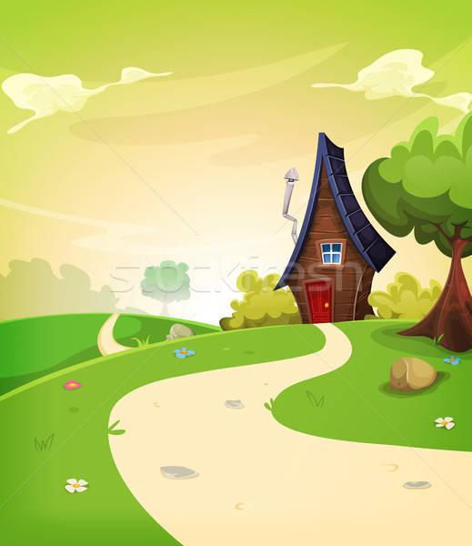 Fadas casa dentro primavera paisagem ilustração Foto stock © benchart