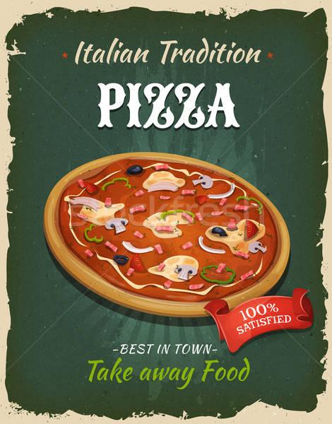 Retro de comida rápida pizza anunciante ilustración diseno Foto stock © benchart