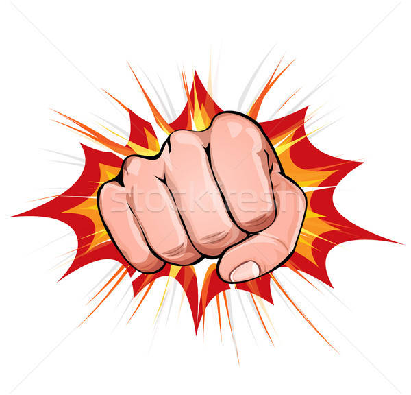 Stock photo: Power Fist On Blasting Background