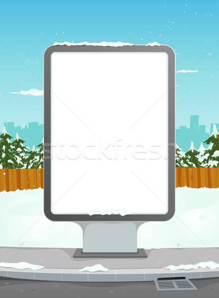 Biały billboard zimą miejskich ilustracja cartoon Zdjęcia stock © benchart