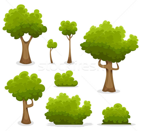 Forestales árboles Bush establecer ilustración Cartoon Foto stock © benchart