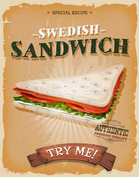 Grunge And Vintage Swedish Sandwich Poster Stock photo © benchart