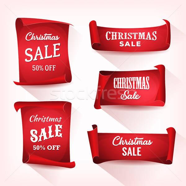 Christmas verkoop perkament scroll ingesteld illustratie Stockfoto © benchart