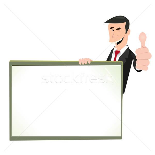 Cartoon White Businessman Blank Sign Vector Illustration
