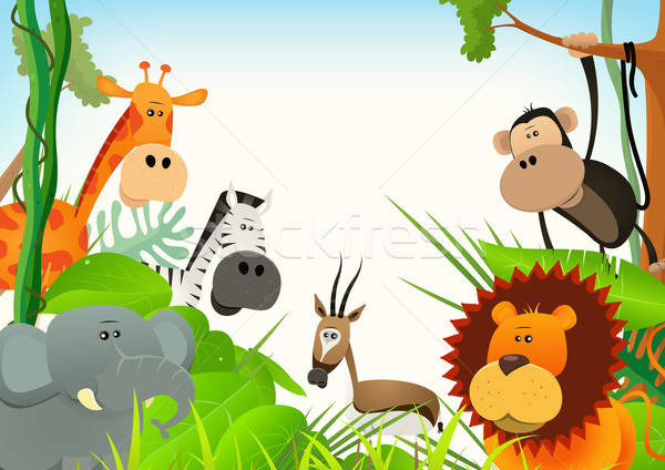 Wilde dieren briefkaart illustratie cute cartoon Stockfoto © benchart