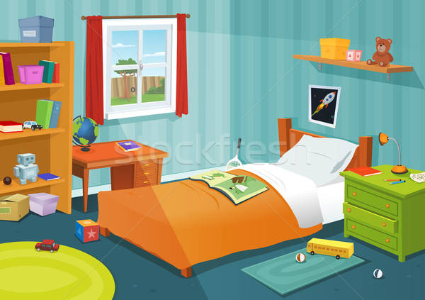 Kid chambre illustration cartoon enfants garçon Photo stock © benchart