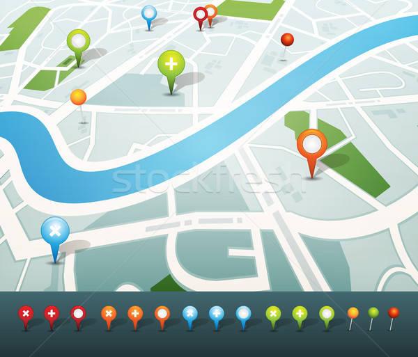 GPS ikona ilustracja miasta Pokaż Zdjęcia stock © benchart