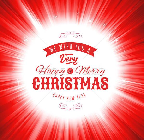 Vidám karácsony kívánságok illusztráció terv ünnepek Stock fotó © benchart