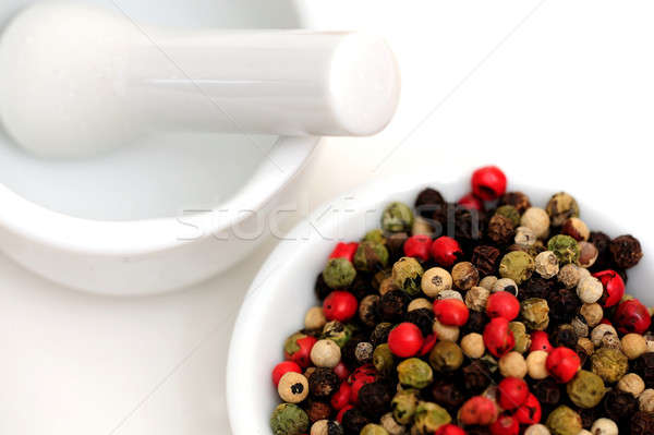Peppercorns With Mortar And Pestle Stock photo © bendicks