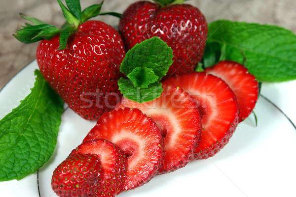 Sliced Fresh Strawberries Stock photo © bendicks