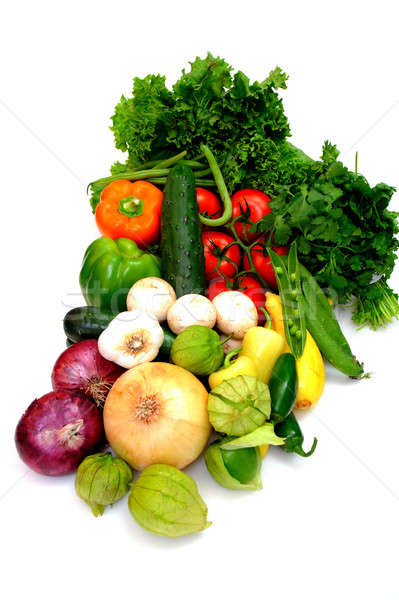 Stock photo: Assorted Vegetables On White