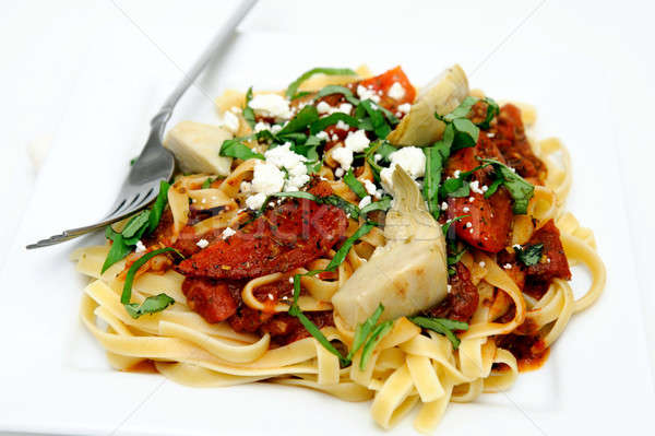 Fettuccini With Roasted Tomato And Basil Stock photo © bendicks