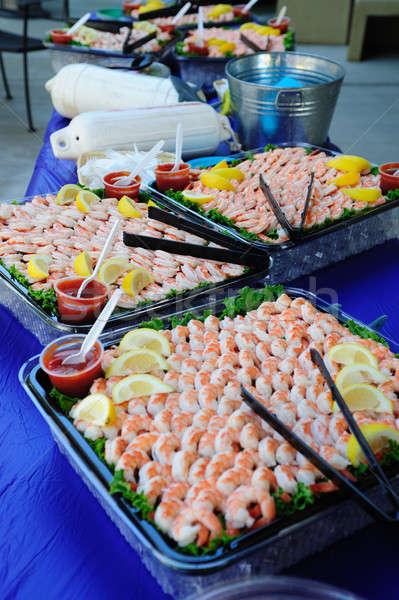 Shrimp And Lemon Wedges Stock photo © bendicks