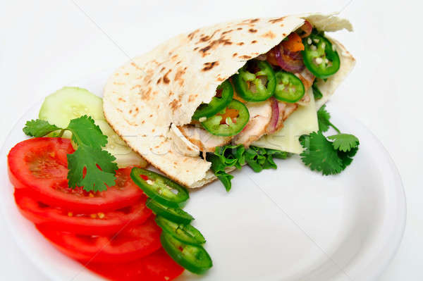 Pita sandwich brood sla kaas gegrild Stockfoto © bendicks