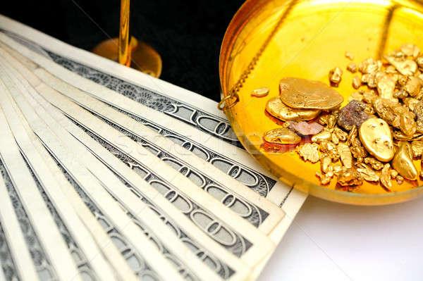 Ouro dinheiro panela saldo escala Foto stock © bendicks