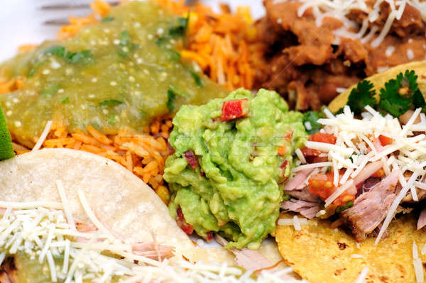 Carnitas With Rice And Refried Beans Stock photo © bendicks