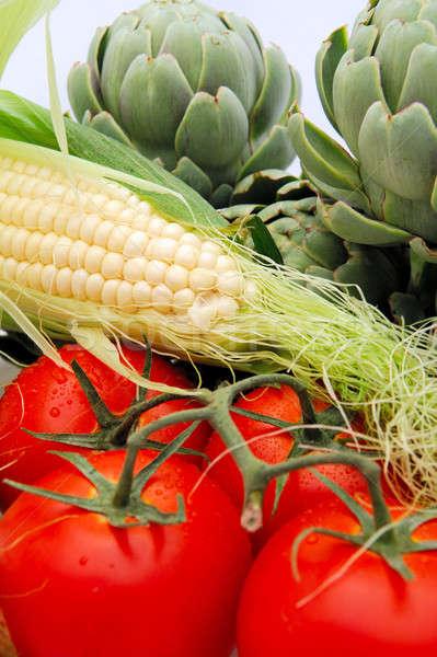 Verduras frescas vid tomates frescos maíz dieta saludable Foto stock © bendicks