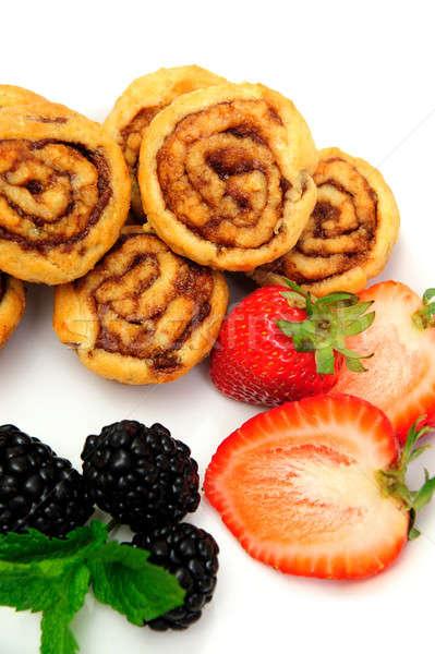 Cinnamon Rolls And Berries Stock photo © bendicks