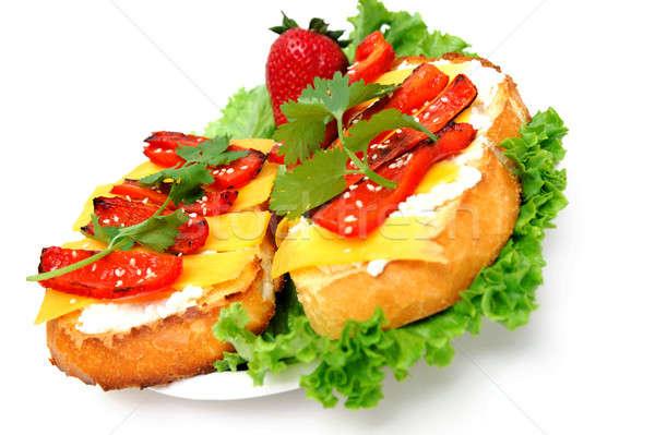 Queso rojo pimienta sándwich tostado Foto stock © bendicks