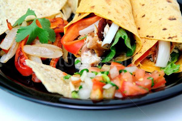 Grilled Chicken And Veggie Wraps Stock photo © bendicks
