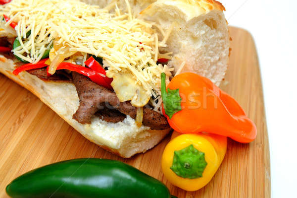 Steak And Sweet Pepper Sandwich Stock photo © bendicks