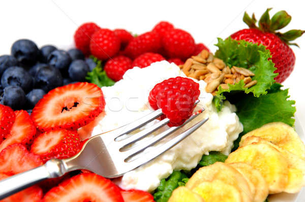 Cottage Cheese And Berries Stock photo © bendicks