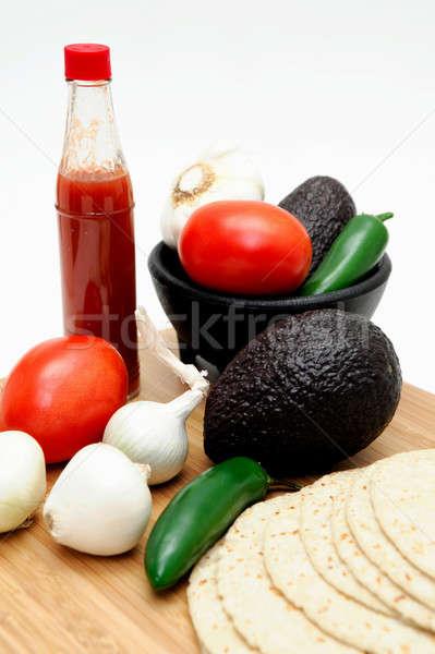Hete saus fles Rood eigengemaakt tortilla vers Stockfoto © bendicks