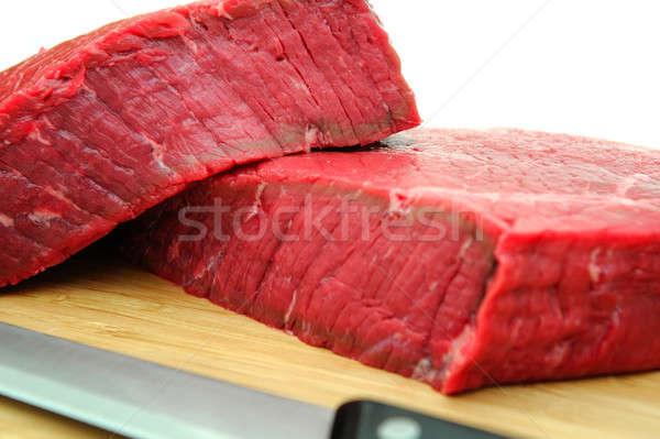 Frescos crudo filete grande tabla de cortar carnicero Foto stock © bendicks