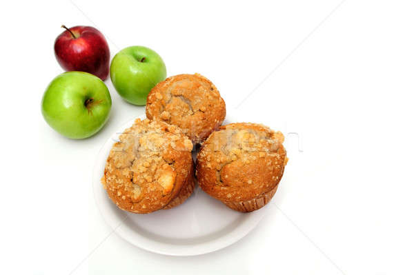 Manzana muffin frutas blanco placa Foto stock © bendicks