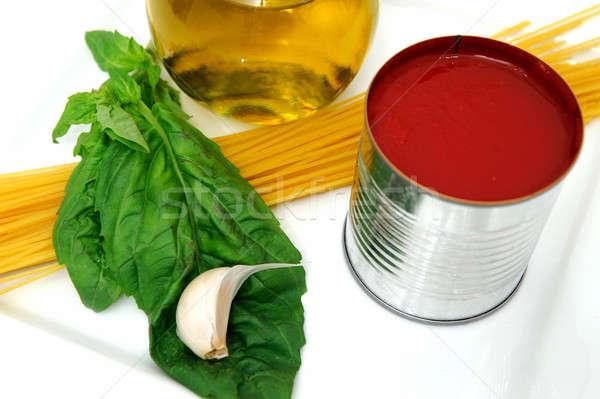 Salsa ingredientes aceite de oliva albahaca hojas frescos Foto stock © bendicks