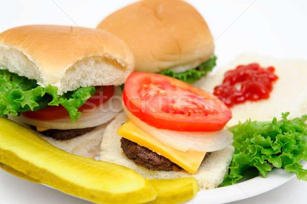 Hamburger augurken drie alle geïsoleerd Stockfoto © bendicks