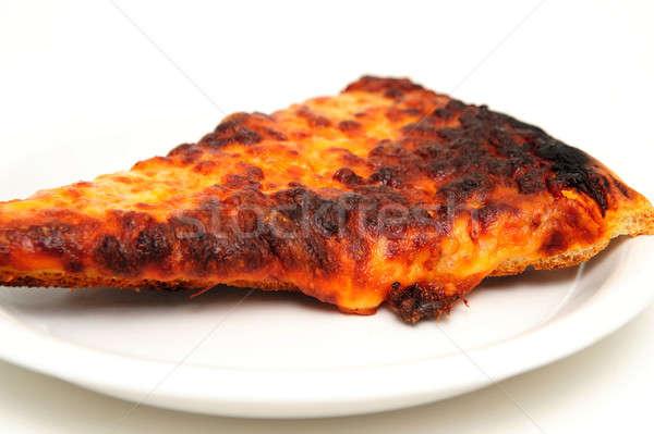 Pizza hizmet beyaz fincan tabağı yalıtılmış Stok fotoğraf © bendicks