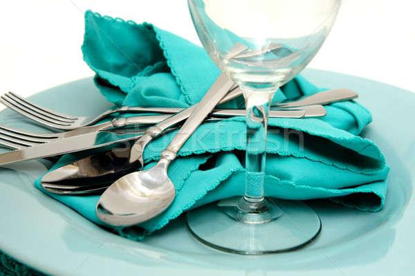 Türkiz tányér szalvéta színes vacsora ruha Stock fotó © bendicks