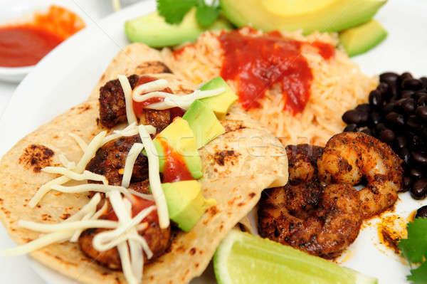 Shrimp And Avocado Taco Stock photo © bendicks