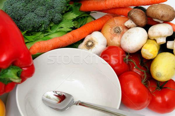 Boş çorba çanak beyaz taze sebze can Stok fotoğraf © bendicks