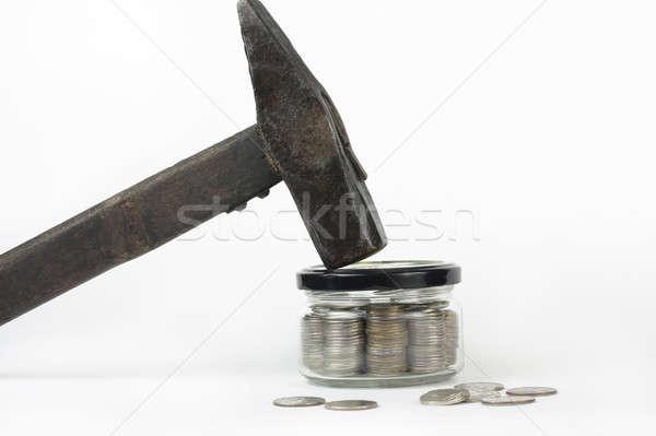 Verre jar argent fermé lumière sécurité Photo stock © bendzhik
