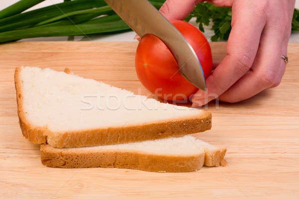 Bread and tomato Stock photo © bendzhik