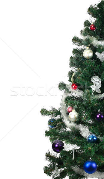 Noel ağacı süslemeleri beyaz ağaç kutu yeşil Stok fotoğraf © bendzhik