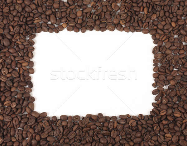 Kahve çerçeve lezzetli kahve çekirdekleri beyaz doku Stok fotoğraf © bendzhik
