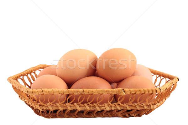 яйца корзины белый Пасху продовольствие куриные Сток-фото © bendzhik